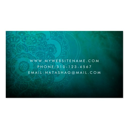 Turquoise Blue Mandala Zen Business Card (back side)