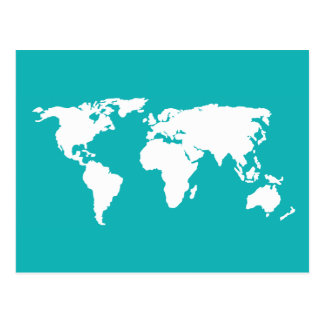 turquoise blue map postcard
