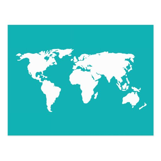turquoise blue map post cards