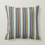 [ Thumbnail: Turquoise, Blue, Maroon, Green & Dark Salmon Lines Throw Pillow ]