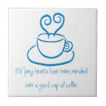 Turquoise Blue Mended Hearts Coffee Tile Trivet