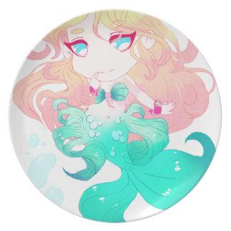 Turquoise Blue Mermaid Melamine Plate