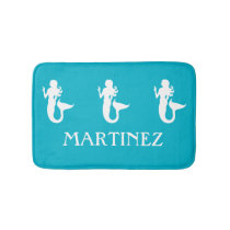 Turquoise Blue Mermaid Sea Creature bathmat