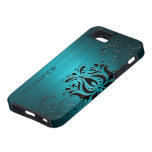 Turquoise-Blue Metal Look & Black Vintage Lace iPhone 5 Cases