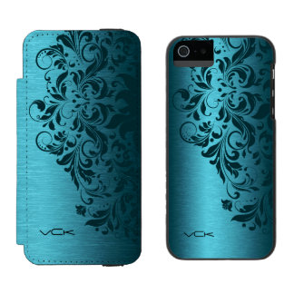 Turquoise Blue Metallic Texture & Dark Red Lace Wallet Case For iPhone SE/5/5s