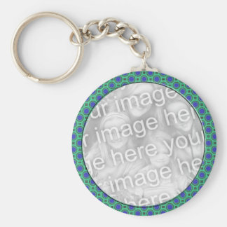 turquoise blue mod dots mod photoframe basic round button keychain