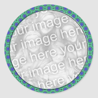 turquoise blue mod dots photo frame classic round sticker