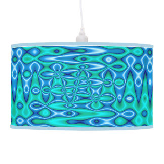Turquoise blue modern abstract hanging lamps