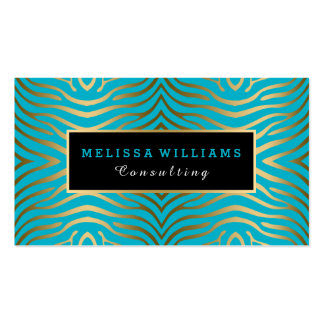 Turquoise Blue & Modern Gold Zebra Stripes Business Card