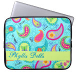 Turquoise Blue Modern Paisley Graphic Pattern Laptop Sleeve