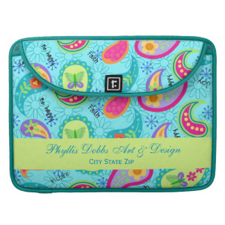 Turquoise Blue Modern Paisley Graphic Pattern Sleeve For MacBook Pro