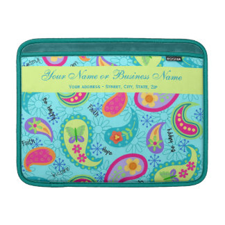 Turquoise Blue Modern Paisley Graphic Pattern Sleeves For MacBook Air