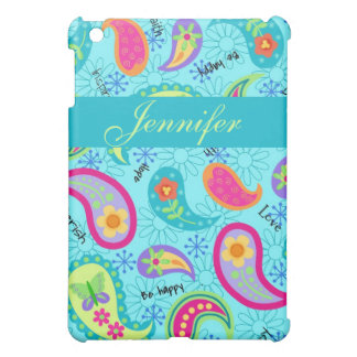 Turquoise Blue Modern Paisley Pattern Case For The iPad Mini