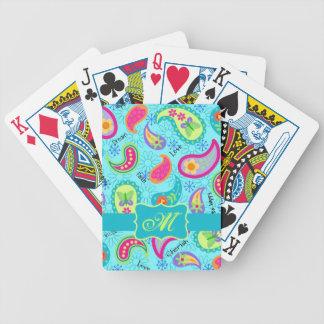 Turquoise Blue Modern Paisley Pattern Monogram Bicycle Playing Cards