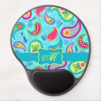 Turquoise Blue Modern Paisley Pattern Monogram Gel Mouse Pad