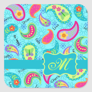 Turquoise Blue Modern Paisley Pattern Monogram Square Sticker