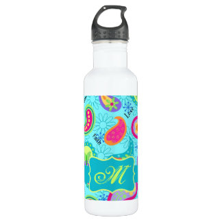Turquoise Blue Modern Paisley Pattern Monogram Water Bottle