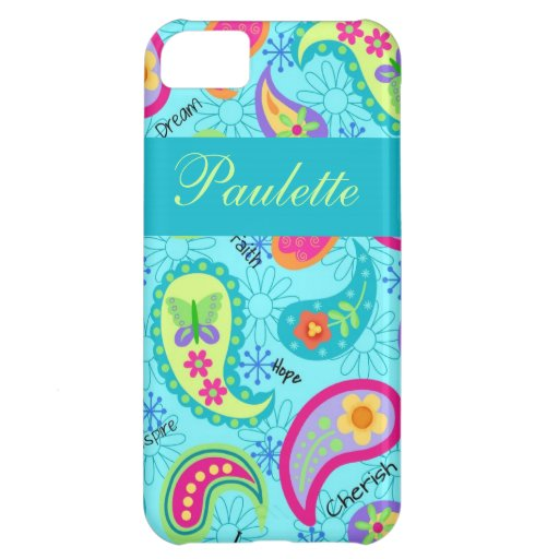 Turquoise Blue Modern Paisley Whimsy Pattern iPhone 5C Cover