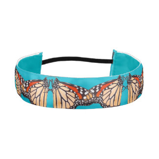Turquoise Blue Monarch Butterfly Floral Head Band