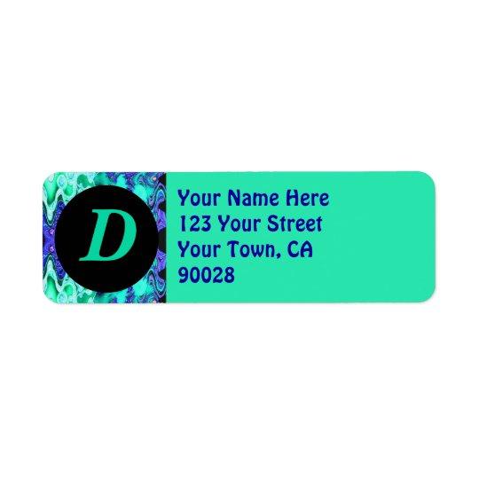 Turquoise Blue Monogram Label