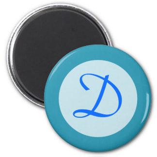 turquoise blue Monogram Magnet