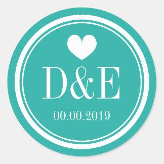 Turquoise blue monogram wedding favor sticker