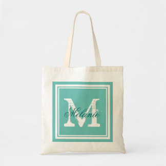 Turquoise blue monogram wedding party tote bags