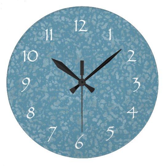 Turquoise Blue Mottled Pattern Large Clock