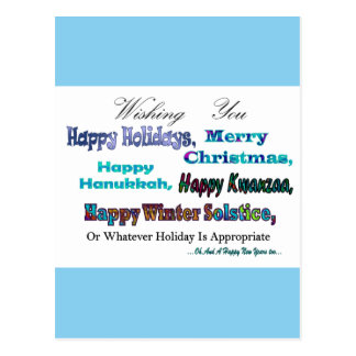 Turquoise Blue Multi Holiday Greeting Postcard