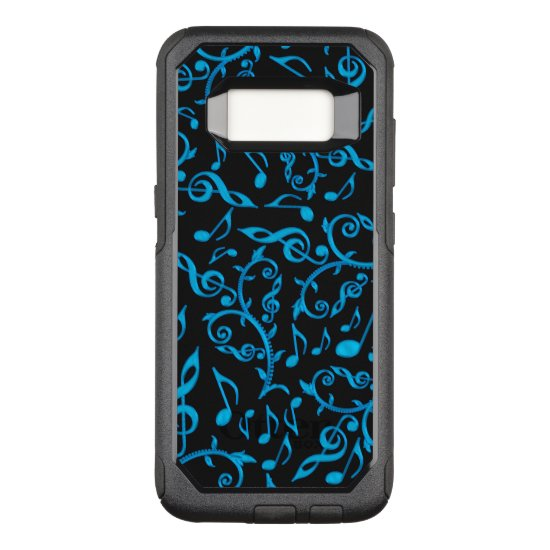 Turquoise Blue Music Notes On Black Otterbox Case