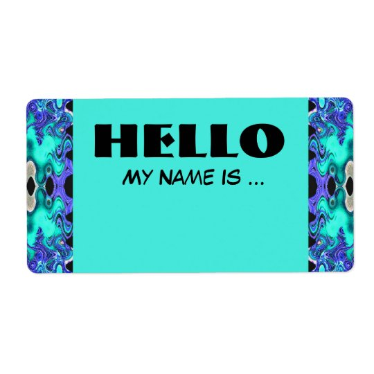 Turquoise Blue name badge Label