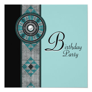 "Turquoise Blue Native American Birthday Party 5.25"" Square Invitation Card"