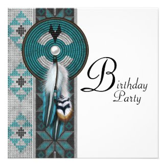 Turquoise Blue Native American Birthday Party Custom Announcements