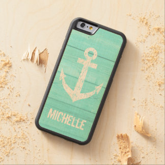 Turquoise blue nautical anchor panel iPhone 6 case Carved® Maple iPhone 6 Bumper