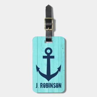 Turquoise blue nautical anchor travel luggage tags