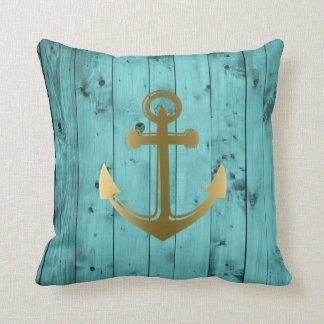 Turquoise Blue Nautical Anchor Wood Teal Gold Throw Pillow