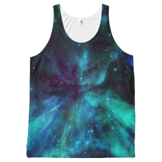 Turquoise Blue Nebula All Over Print Tank All-Over Print Tank Top