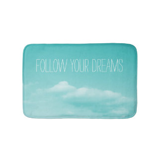 Turquoise blue non slip bath mat with custom quote