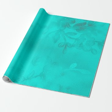 McTiffany Tiffany Aqua Turquoise Blue Ocean  Floral Lace Tiffany Wrapping Paper