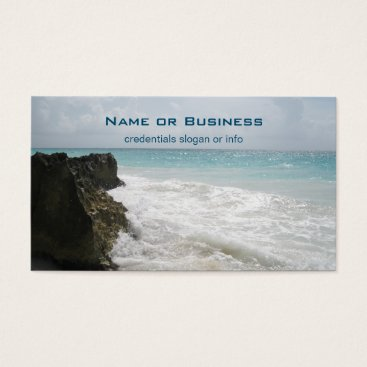 Beach Themed Turquoise Blue Ocean with Foamy Waves Seascape Business Card