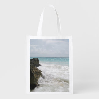 Turquoise Blue Ocean with Foamy Waves Seascape Grocery Bag