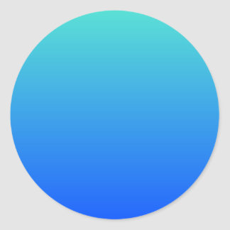 Turquoise Blue Ombre Classic Round Sticker