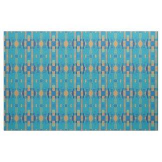 Turquoise Blue Orange Geometric Plaid Pattern