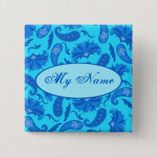 Turquoise & Blue Paisley Customized Name Tag Badge Button