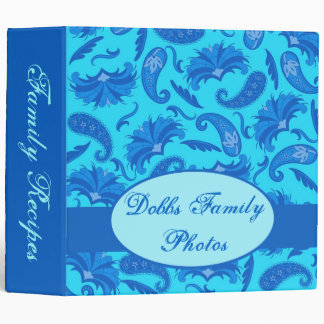 Turquoise & Blue Paisley Recipe Photo Memory Album 3 Ring Binder
