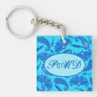 Turquoise & Blue  Parisian Paisley Monogram Name Single-Sided Square Acrylic Keychain