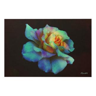 Turquoise Blue Pastel Rainbow Rose Wood Art Wood Wall Art