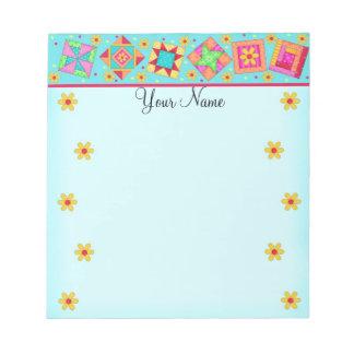 Turquoise Blue Patchwork Quilt Block Art Notepad