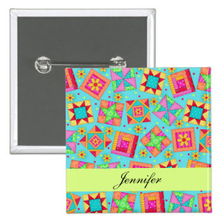 Turquoise Blue Patchwork Quilt Blocks Name Badge 2 Inch Square Button