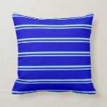 [ Thumbnail: Turquoise & Blue Pattern of Stripes Throw Pillow ]